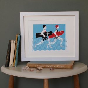 Arthur and Olive surfing couple print