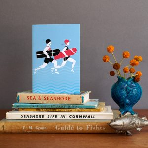 Arthur and Olive, Surfing Couple Greeting Card