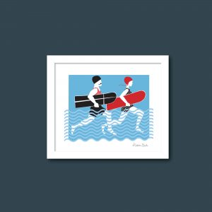 Arthur and Olive surfing couple print Framed