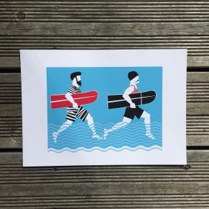 George and Arthur surfing men with beards