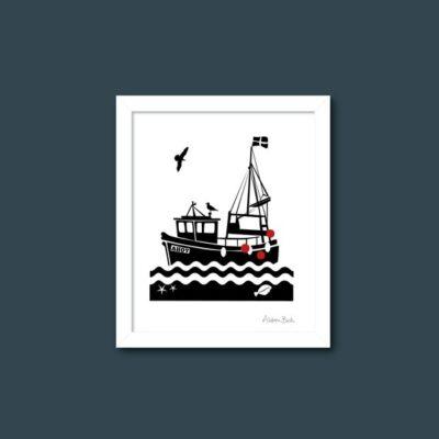 Cornish fishing boat art print