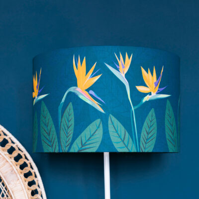 Bird of Paradise Flower Teal lamp shade
