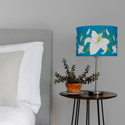 Teal Lily artisan lamp shade