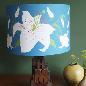 Teal Lily Blue lamp shade 30cm