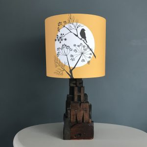 Mustard Yellow Fennel & Sparrow lampshade 20cm