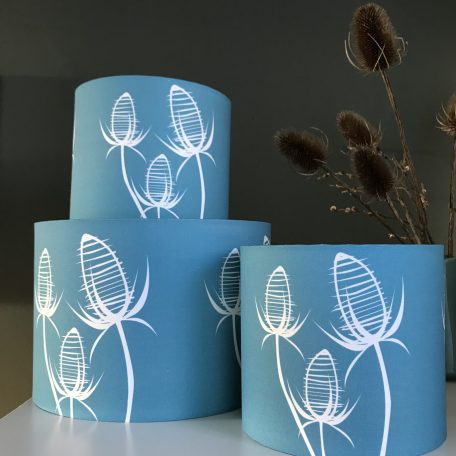 Small Blue Teasel Lampshade