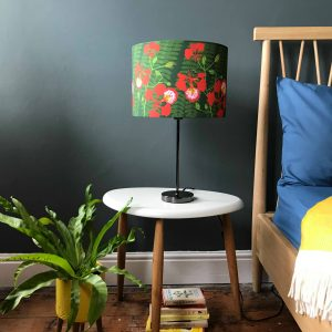 Flamboyant Flower printed Linen Lampshade 30cm