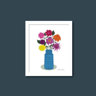 Dahlias in Blue Vase wall print A4 size