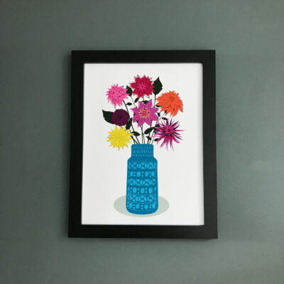 Dahlias in Blue Vase wall print A3 size