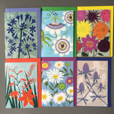 Set of six Floral blank greeting cards