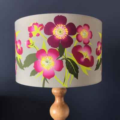 Hellebore Flower Designer Lamp Shade Pink