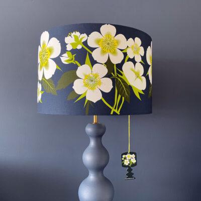 Dark Blue Hellebore floral lampshade